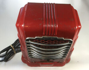 Vintage 1940 s Arvin Space Heater Works Red Chrome