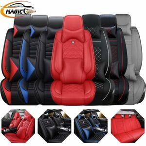 14pc Car Seat Cover Interior Leather Waterproof 5 seats Truck Full Set Protector