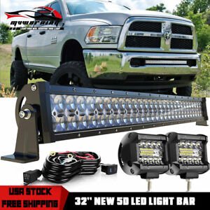 32inch Led Light Bar Straight 30 34 Combo 4 Pods Offroad For Dodge Ram 1500