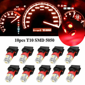 10x Red T10 194 Led Bulbs For Instrument Gauge Cluster Dash Light With Sockets