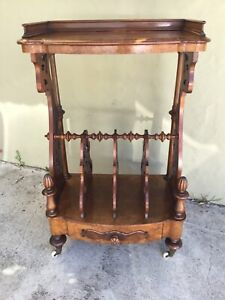 Antique Victorian Walnut And Walnut Burl Music Stand With Drawer At Base