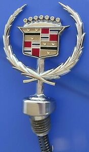 Cadillac Hood Ornament Emblem 85 93 deville Fleetwood W base 90 92 High Bezel 2