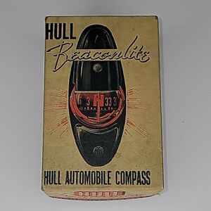 Vintage 1940 s Hull Beaconlite Illuminated Auto Compass Nos