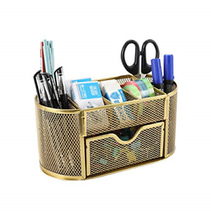 Mesh Desk Organizer Office Supply Caddy With Drawer And Pencil Holder Card Gold