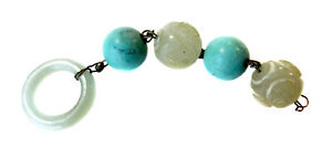 White Jade Antique Beads Turquoise Lot Ring Qing