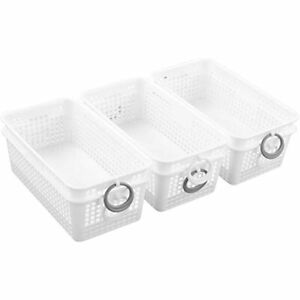 Sosody Plastic White Storage Baskets With And Grey Circles Small Drawer 6 Packs