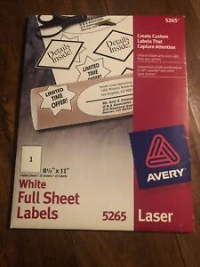 Avery 5265 Laser White Full Sheet Labels 25 Sheets 25 Labels 8 5 x11 Only 19