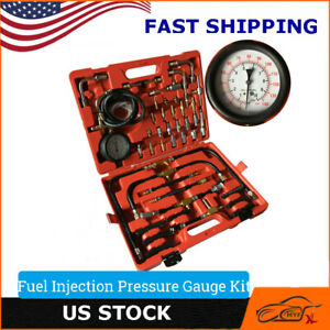 New Fuel Injection Pressure Gauge Tester Kit Car System Pump Tool Set 0 140psi