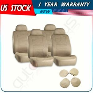 10 Pieces Beige Universal Full Set Embossed Car Auto Seat Covers For Buick