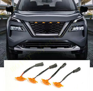 For Nissan Rogue 2021 Front Grille Led Amber Light Raptor Style Grill Cover 4pcs