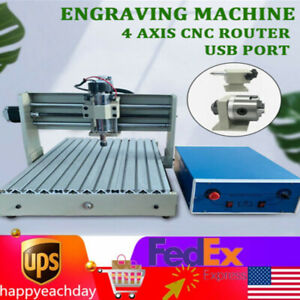 4 Axis Cnc 3040 Usb Port Router Diy Engraver Wood Engraving Carving Machine