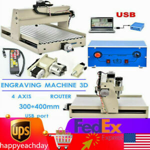 4 Axis Cnc3040 Usb Router Engraver Wood Engraving Carving Cutting Machine rc