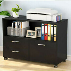 Home Office File Cabinets 3 Drawers Mobile Side Table Storage Furniture W wheels