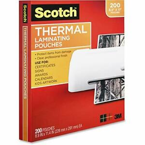 Scotch Thermal Laminating Pouches 200 pack 8 9 X 11 4 Inches Letter Size Shee