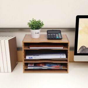 5 tier Natural Bamboo Shelf Organizer With 4 Adjustable Dividers For Desk