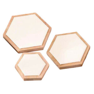 3pcs Wooden Jewelry Showcase Earrings Necklace Display Holder White Leather
