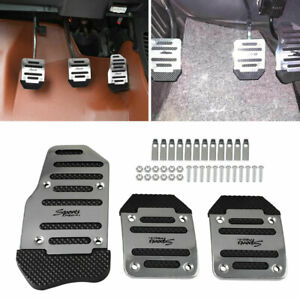 3 In 1 Universal Aluminum Non Slip Pedals Pad Cover Set For Manual Car Vehicle