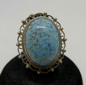 Vintage STERLING SILVER Large Blue TURQUOISE Stone Women#x27;s RING Size 5.5 MEXICO $16.95