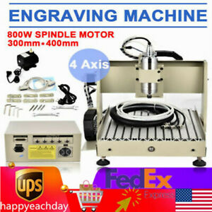 4 Axis Cnc 3040t Vfd Usb Router 800w Wood Engraver Engraving Milling Machine