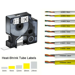 Ind Heat shrink Tube Tubing For Dymo Black On White Yellow 9 12 19 24mm