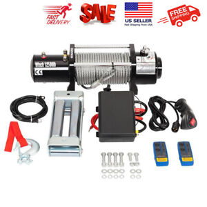 12500lbs 12v Electric Recovery Winch Truck Suv Durable Remote Control Usa
