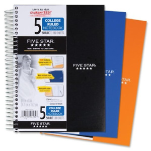 Five Star Spiral Notebook 5 Subject College Ruled Paper 180 Sheets Small X