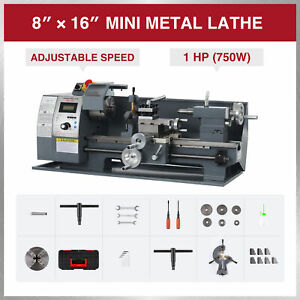 1 Hp 8x16 Inch 2250rpm Mini Metal Lathe For Turning Cutting Drilling Threading