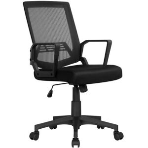 Easyfashion Mid back Mesh Office Chair Ergonomic Computer Chair Black