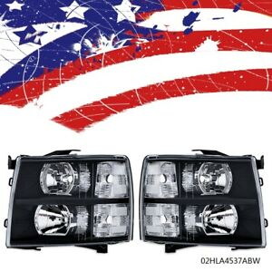 For 2007 2014 Chevy Silverado 1500 Headlight lamp Replacement Smoked Housing Usa