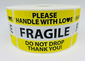 100 Labels 2x3 Fragile Yellow Do Not Drop Shipping Labels Stickers