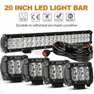 20 Inch Led Work Light Bar Spot Flood Combo Offroad 4 Led Pods Suv Truck 4wd