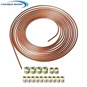 3 16 Od 25 Foot Coil Roll All Size Fittings Copper Nickel Brake Line Tubing Kit
