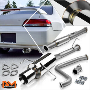 For 97 01 Honda Prelude Bb6 H22a4 4 rolled Tip Muffler Stainless Catback Exhaust
