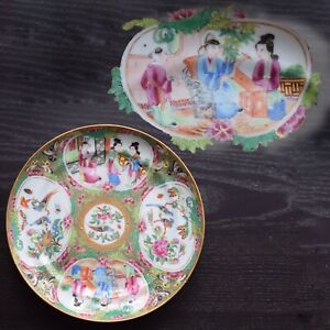 Antique Chinese Canton Rose Medallion Dish With Melon Reserves Famille Rose 306