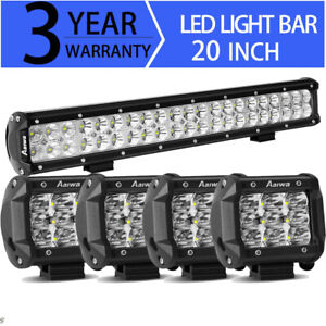 Combo 20inch 280w Led Work Light Bar 4 Spot Kit Offroad Driving 4wd Truck 22