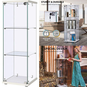 Glass Countertop Display Case Store Fixture Showcase W Front Lock 25mm Mdf Base