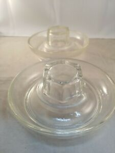 Lot Of 2 Vintage Glass Chicken Water Feeder Base For Quart Mason Jar No 569