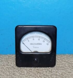 Simpson Model 27 Dc Milliamperes Panel Meter 0 25ma 3 X 3 Free Shipping