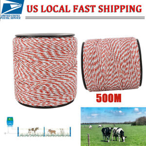 500m Electric Roll Polywire Fence Energiser Stainless Steel Poly Rope Insulator