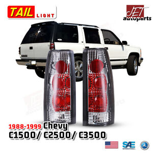 For 88 98 Chevy Gmc C k 2500 3500 95 00 Tahoe Tail Lights Lamp Chrome clear L r
