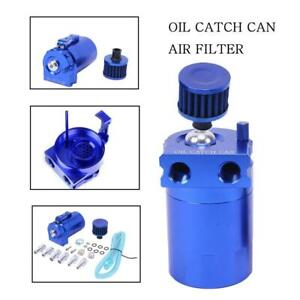 New Cylinder Aluminum Engine Oil Catch Reservoir Breather Tank Can W filter Blue