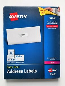 2 Pack Avery 5160 Easy Peel Address Labels 3000 Count Ea 1 X 2 5 8 Inch Damage