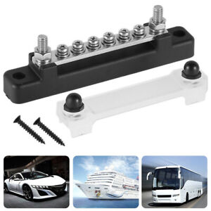 6 Way Terminal Bus Bar Block With Cover Ground Power Distribution For Car Marine