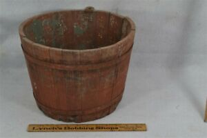 Old Early Wood Sap Bucket Red Paint New England Nh Hand Made Primitive Original