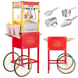 8oz Vintage Style Popcorn Machine Cart With Kettle Scoop Salt Shaker Containers