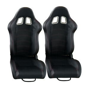 1 Pair Pu Leather Car Racing Seats Universal Sport Seat W 2 Sliders Black