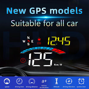 Car Gps Head Up Display Hud Speedometer Overspeed Tired Alarm Acceleration Time