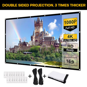 120 Portable Foldable Projector Screen 16 9 Hd Theater Movie 2 side Projection