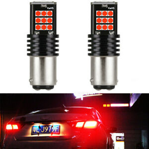 2x 1157 Red Led Strobe Flashing Blinking Bulb For Bmw Front Turn Signal Lights