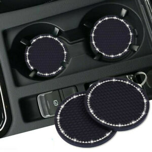 2x Universal Car Bling Cup Holder Insert Rhinestone Coaster Interior Accessories